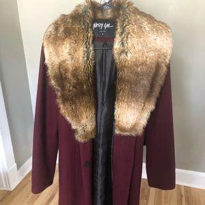 Nasty Gal faux fur lapel wool coat